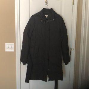 JCrew Long Puffer Jacket w/tie waist